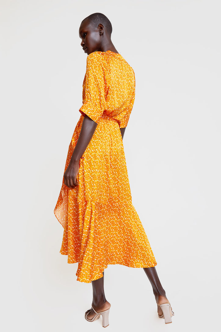 Image of Rodebjer Kweller Wrap Dress in Mango