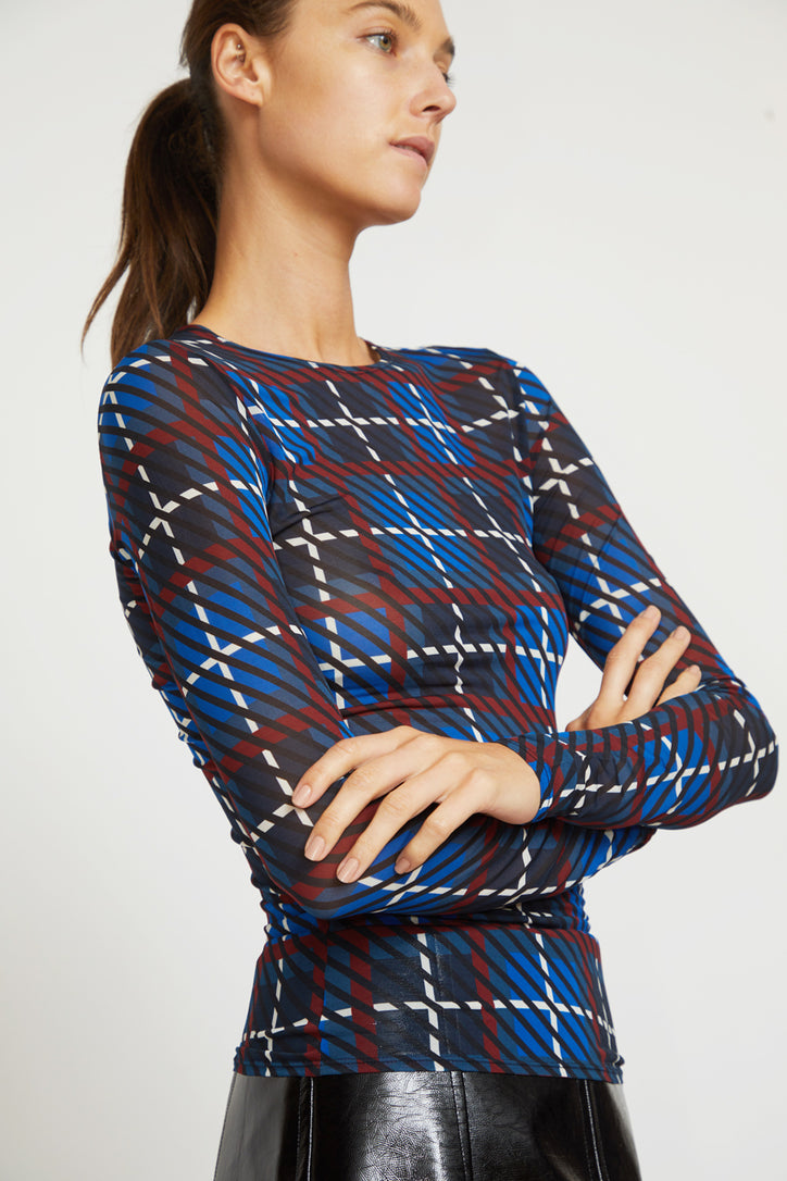 Image of Rodebjer Lenci Sheer Jersey Top in Denim Blue Plaid