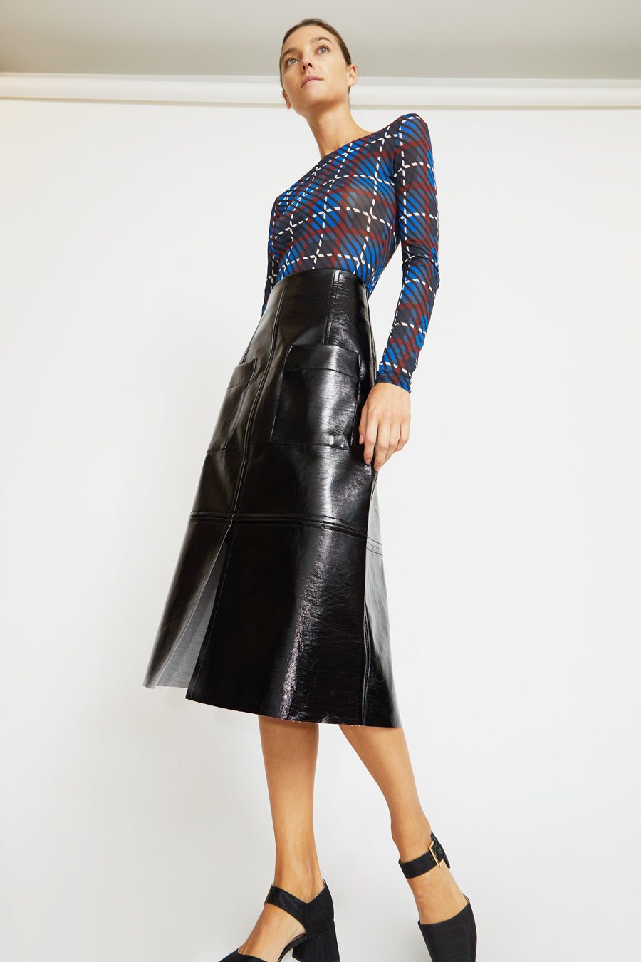 Rodebjer Lenci Sheer Jersey Top in Denim Blue Plaid