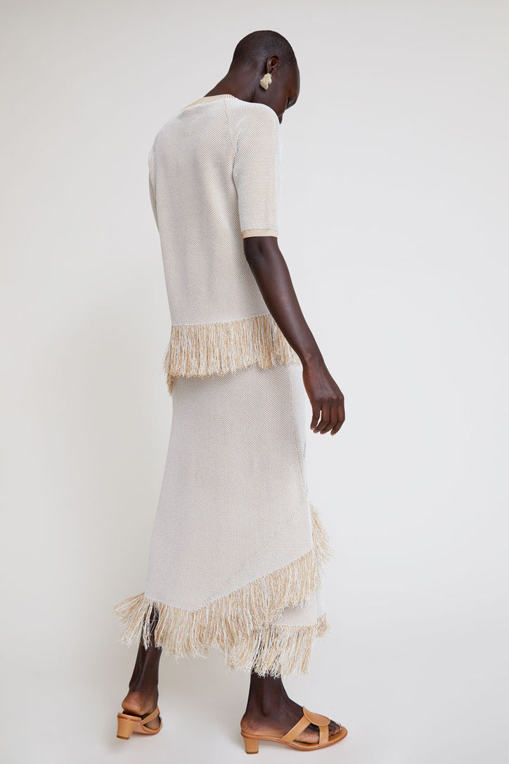 Image of Rodebjer Tidar Knit Skirt in Sand