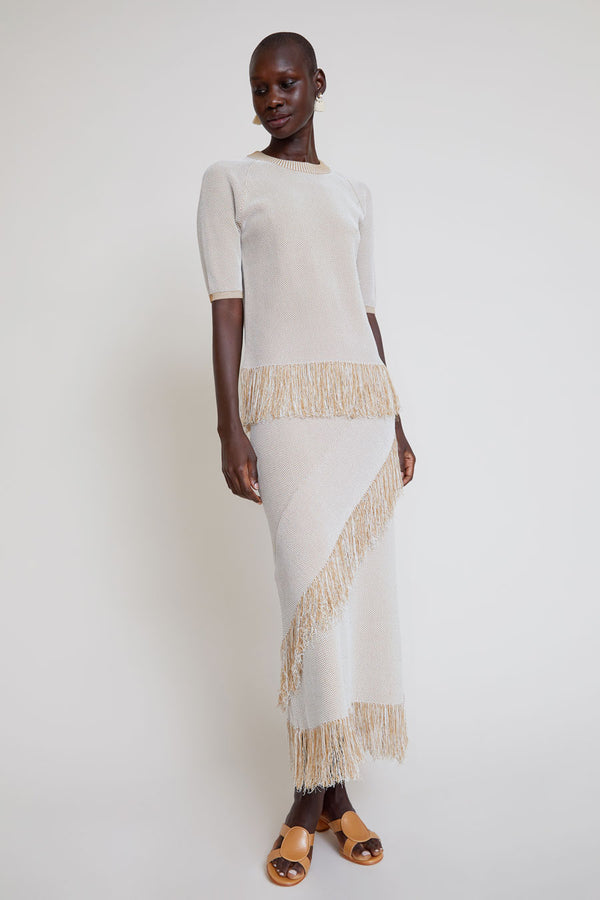 Rodebjer Tidar Knit Skirt in Sand