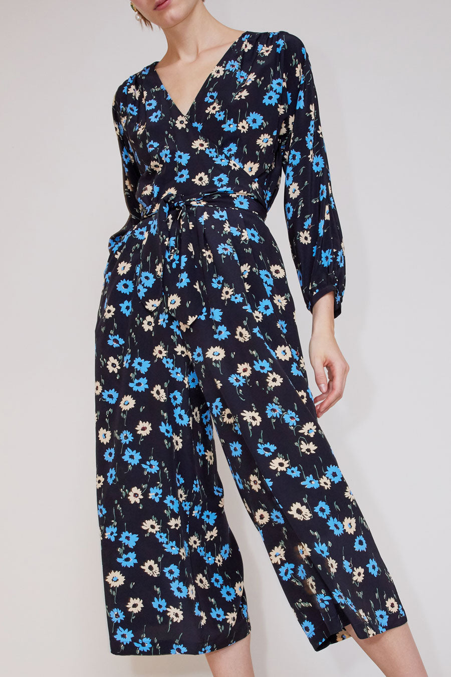 No.6 Romy Jumpsuit in Black and Blue Falling Floral