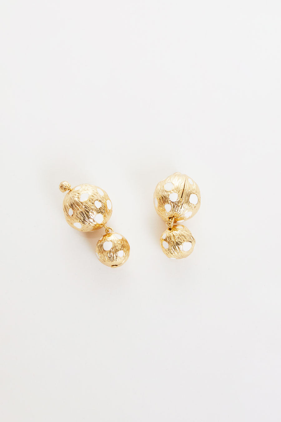 Rejina Pyo Cameron Earrings in Gold Plated with Ivory Enamel