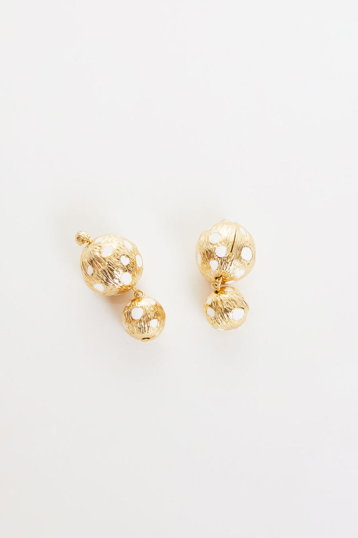 Image of Rejina Pyo Cameron Earrings in Gold Plated with Ivory Enamel