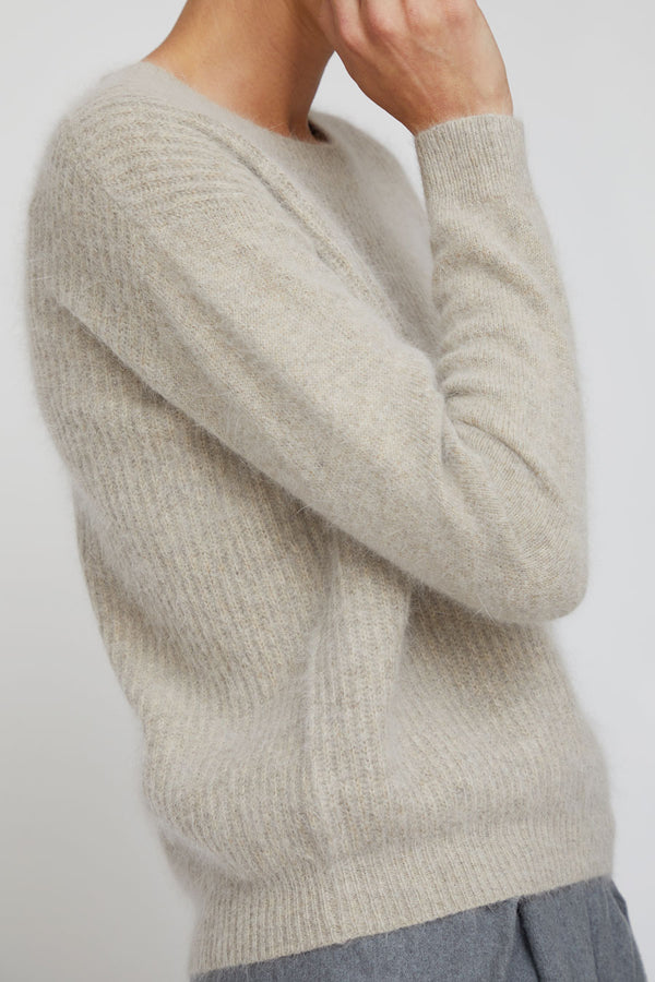 Rue Blanche Boxy Angora Sweater in Avoine
