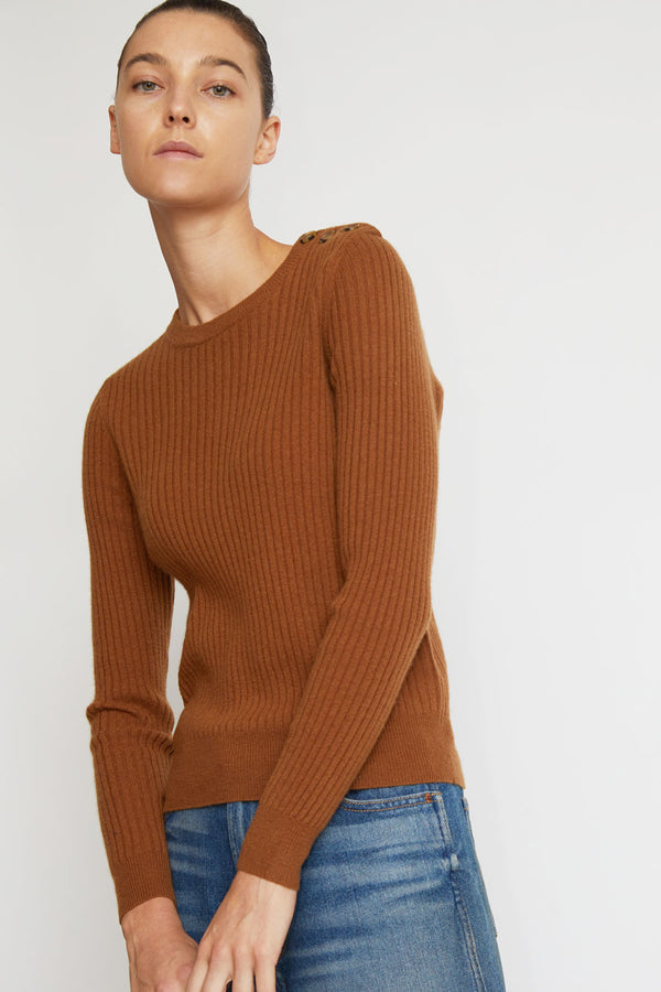 Rue Blanche Lumina Rib Sweater in Havane