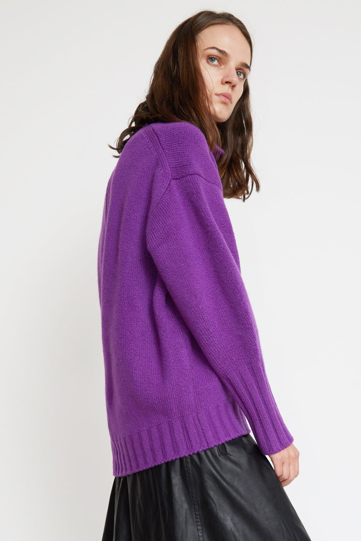 Image of Sayaka Davis High Collar Sweater in Purple