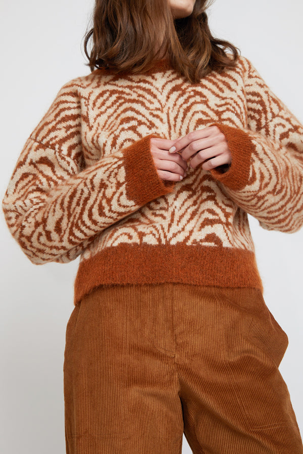 Sayaka Davis Zebra Jacquard Sweater in Ginger