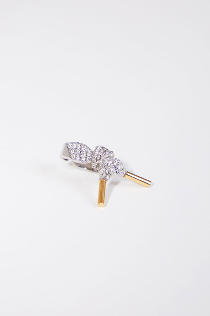 Image of Schield Laces Ring in Palladium Gold Swarovski Crystal Silver Shade