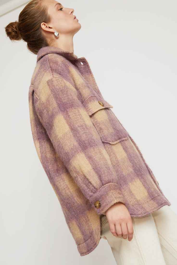 Image of No.6 Wilson Jacket in Violet Plaid Mohair