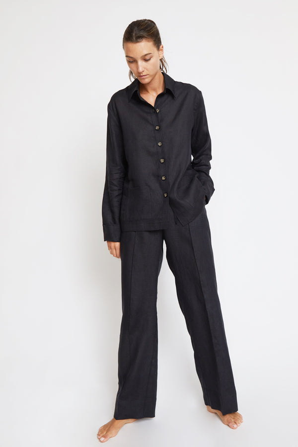 Sleeper Linen Pajama Set in Black