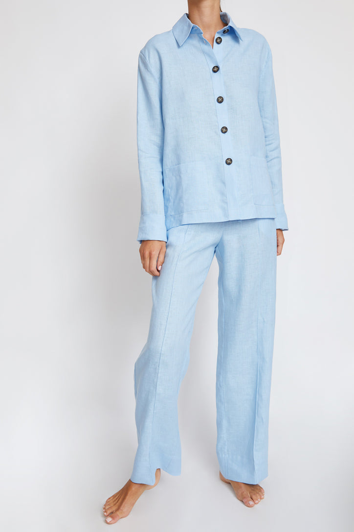 Image of Sleeper Linen Pajama Set in Blue