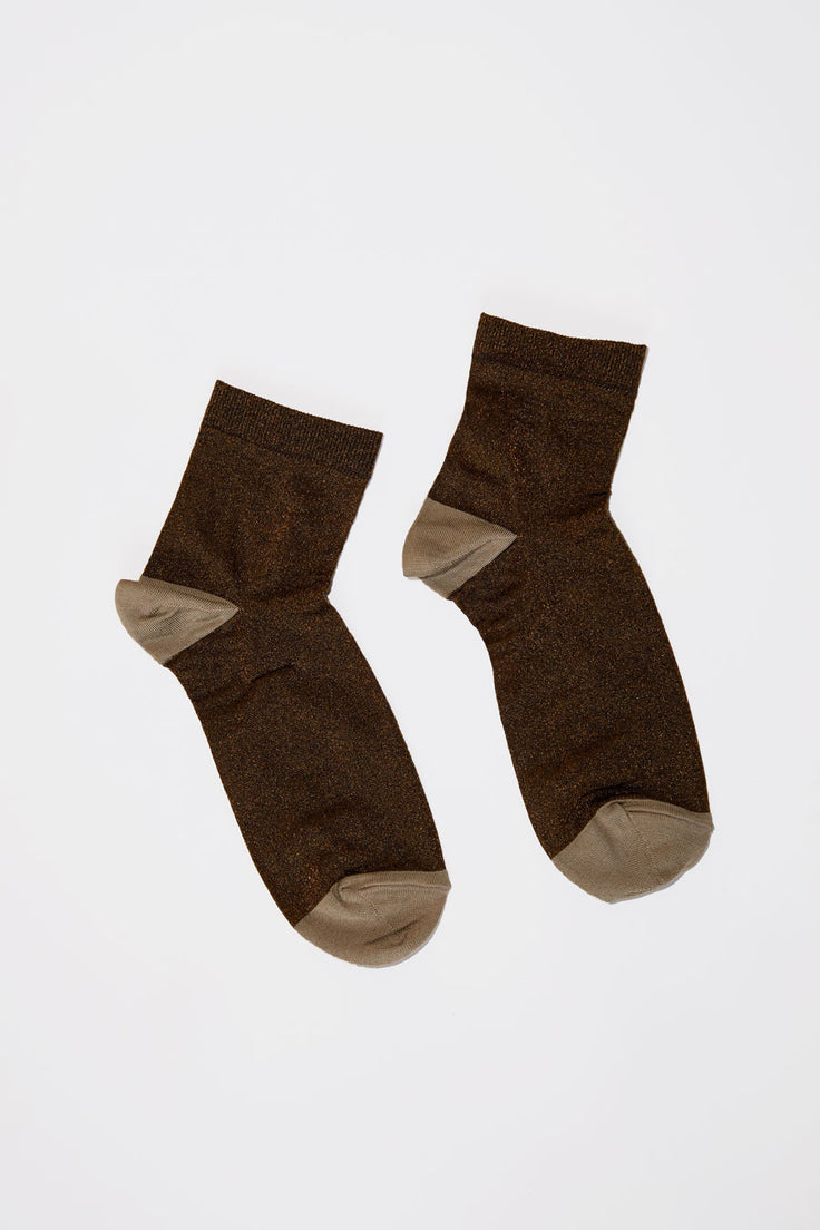 Image of No.6 Silk and Lurex Sock in Bronze