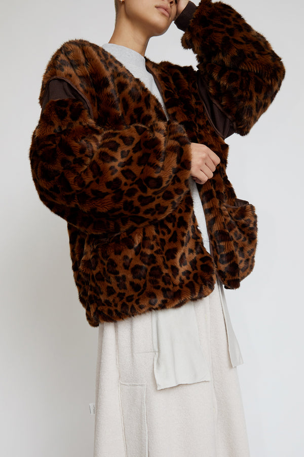 StandAlone Faux Fur Jacket in Brown Leopard