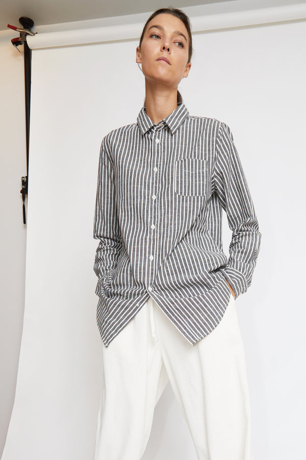 Sultan Wash Dinard Striped Shirt in Noir / Ecru