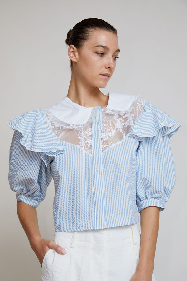 Suzanne Rae Seersucker Top with Folk Embroidery in Blue