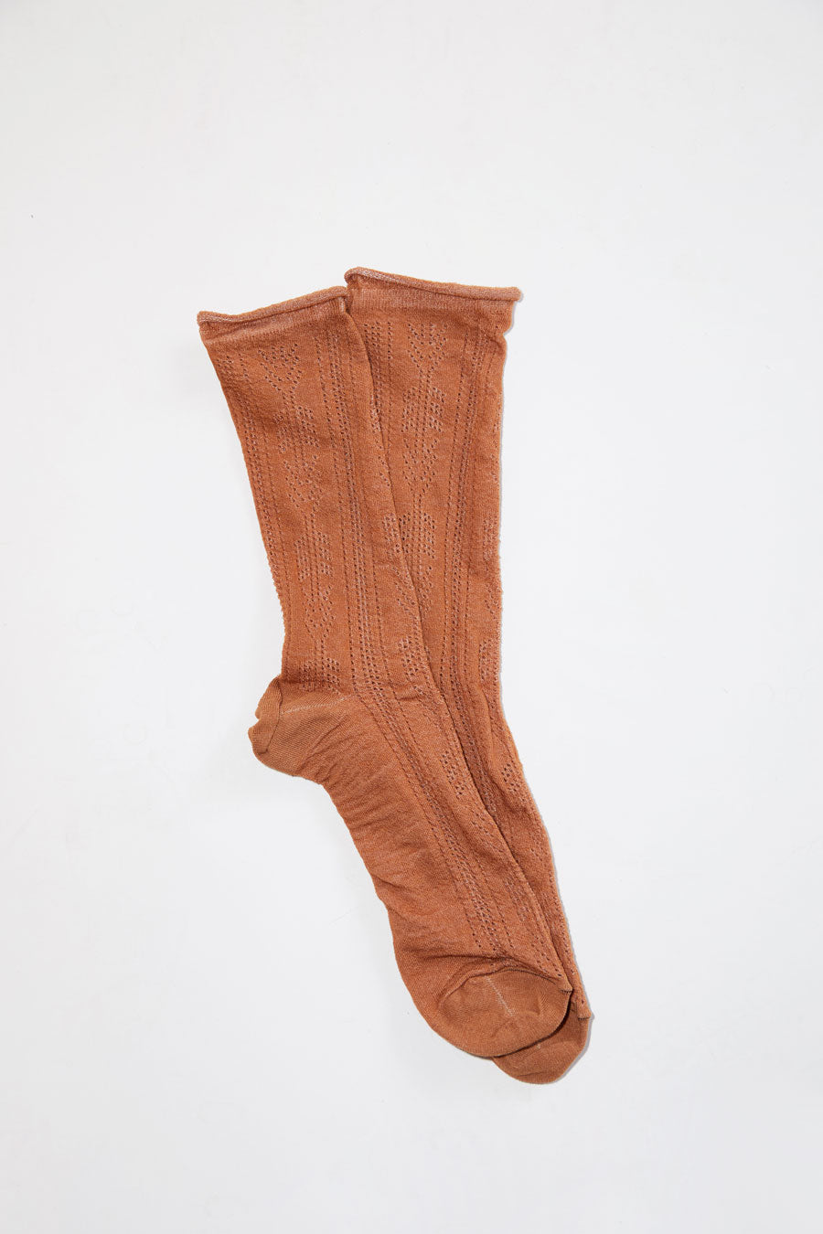 No.6 Open Work Sock in Tobacco