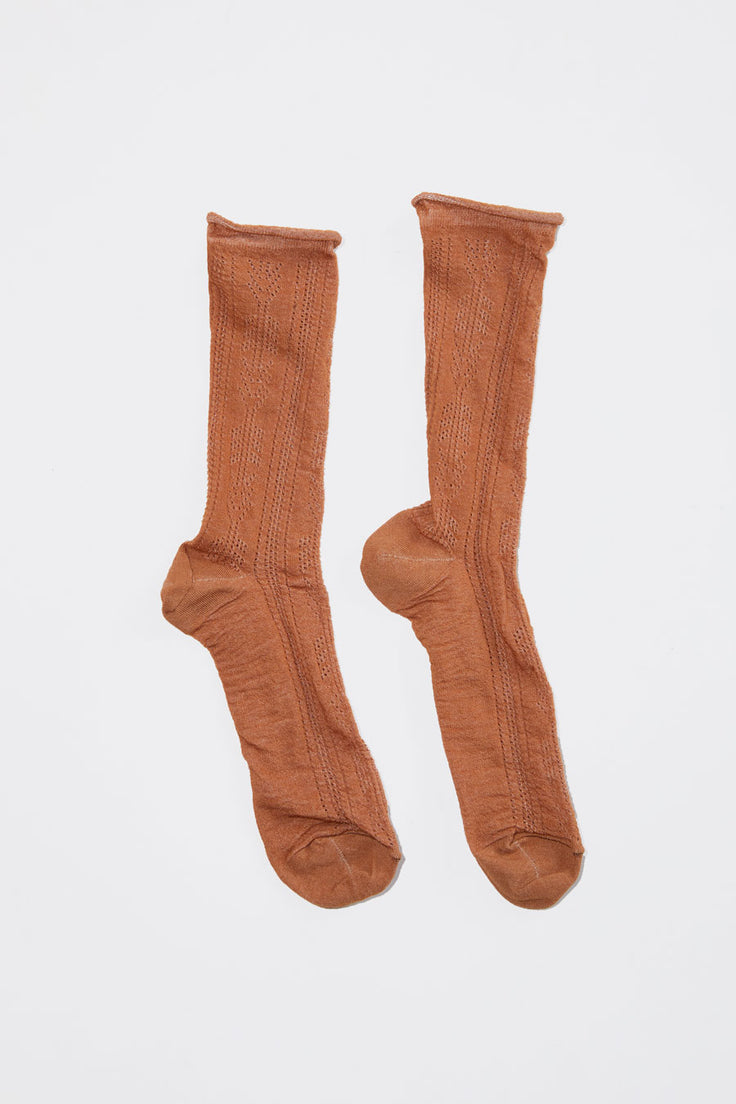 Image of No.6 Open Work Sock in Tobacco