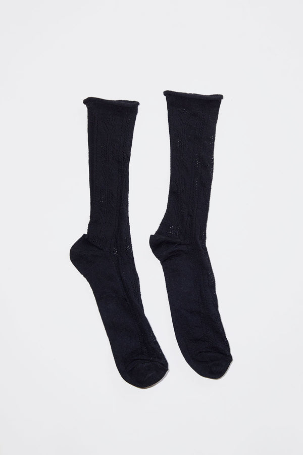 No.6 Open Work Sock in Black