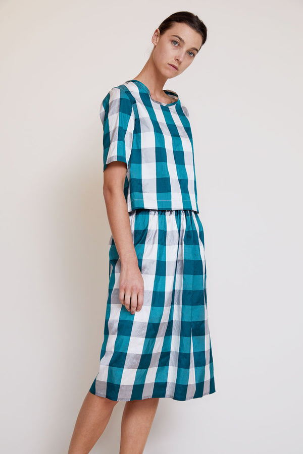 Vladimir Karaleev Basic Skirt in Green Plaid