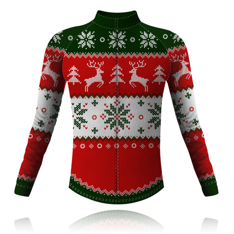 Knight Sportswear Christmas Jumper Red/Green - Long Sleeve Cycling Shirt