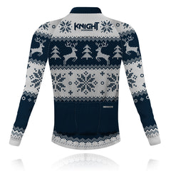 Knight Sportswear Christmas Jumper Navy/White - Long Sleeve Cycling Shirt