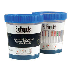 BluRapids® 13-Panel Drug Test Cup, AMP/BAR/BUP/BZO/COC/MET/MDMA/MTD/OPI300/OXY/PCP/TCA/THC (25/Box)