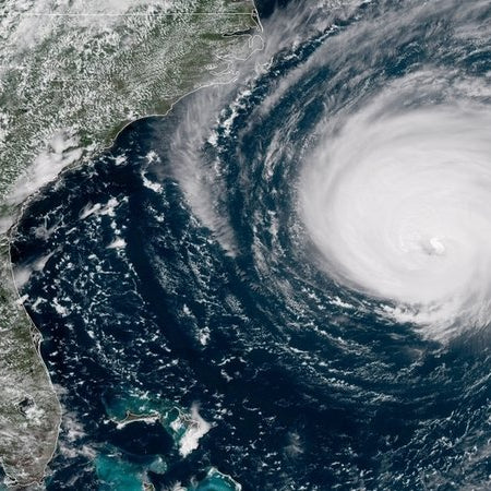 Hurricane Florence approaching the U.S. East Coast