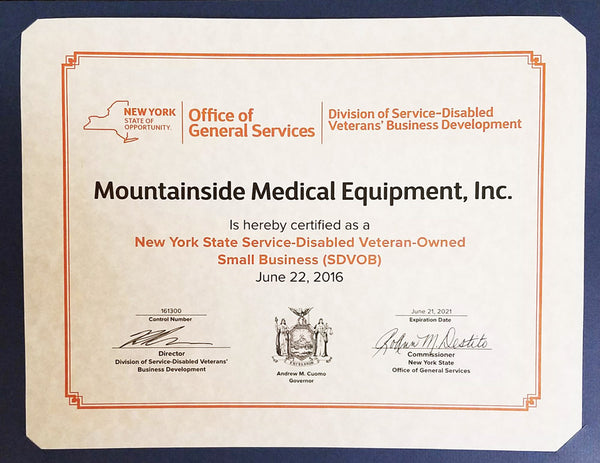 SDVOSB New York State Certification for Mountainside Medical Equipment