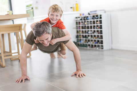 Exercise with Son Push-Ups