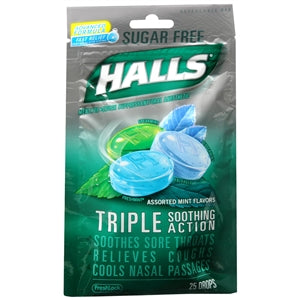 Buy Halls Sugar Free Triple Soothing Action Cough Drops, Assorted Mint online used to treat Cough Drops - Medical Conditions