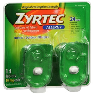 Zyrtec 24 HR Allergy Relief, 14 Count - Allergy Relief Medicine - Mountainside Medical Equipment