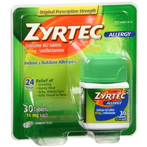 Zyrtec 24 HR Allergy Relief, 30 Count - Allergy Relief Medicine - Mountainside Medical Equipment
