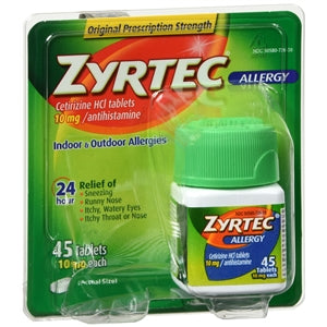 Zyrtec 24 HR Allergy Relief, 45 Count - Allergy Relief Medicine - Mountainside Medical Equipment