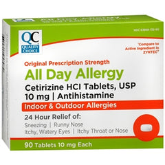 Buy QC All Day Allergy Cetirizine HCI Tablets, 10 mg (Generic Zyrtec), 90 Count online used to treat Generic Zyrtec - Medical Conditions