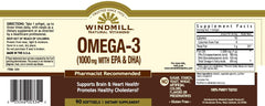 Buy Windmill Omega 3 EPA & DHA Fish Oil, 1000 MG, 180 count online used to treat Heart Health Supplement - Medical Conditions