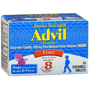 Advil Junior Strength 100mg Chewable Tablets Grape 24 Count