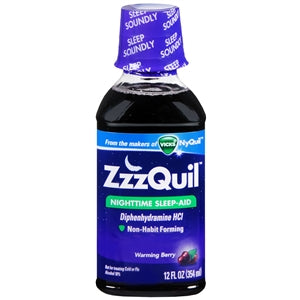 Buy Vicks ZZZquil Sleep Aid Liquid Warming Berry Flavor 12 oz. online used to treat Insomnia - Medical Conditions