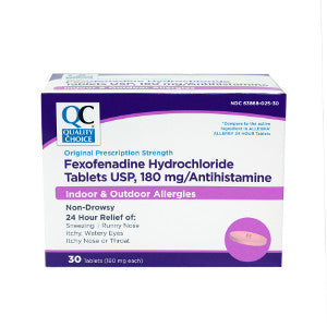 Buy Quality Choice Fexofenadine Hydrochloride Tablets USP, 180 mg Antihistamine (Generic Allegra) online used to treat Allergy Relief - Medical Conditions