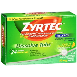 Zyrtec Dissolve Tabs, Citrus Flavor - Allergy Relief Medicine - Mountainside Medical Equipment