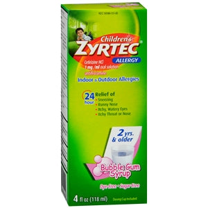 Buy Children's Zyrtec, Bubble Gum Flavored Syrup online used to treat Allergy Relief Medicine - Medical Conditions
