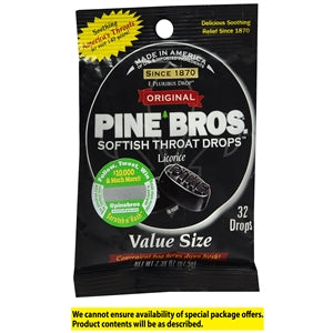 Buy Pine Bros. Softish Throat Drops, Black Licorice online used to treat Sore Throat Relief - Medical Conditions