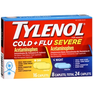 Tylenol Cold + Flu Severe, Day & Night Caplets - Cold and Flu - Mountainside Medical Equipment