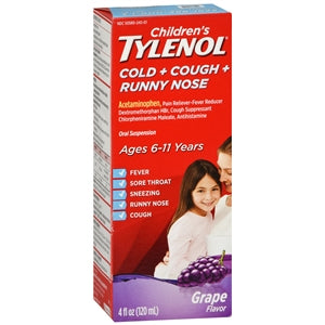 Children's Tylenol Cold + Cough + Runny Nose Oral Suspension, Grape Flavor - Cold and Flu - Mountainside Medical Equipment