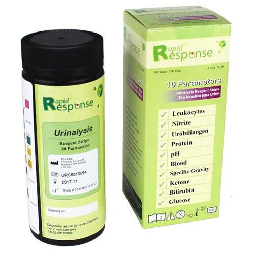 10 SG Urine Reagent Test Strips, 100/bottle