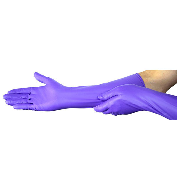 "Chemical Protection Nitrile Gloves, Thick 16"" Long Sleeves,10 Pair"