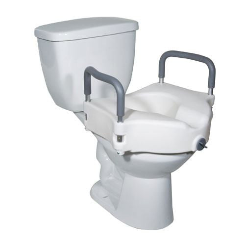Contoured Locking Raised Toilet Seat with Tool-Free Removable Arms for Raised Toilet Seats by Drive Medical | Medical Supplies