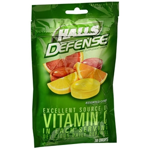 Buy Halls Defense Dietary Supplement Drops, Assorted Citrus Flavor online used to treat Vitamins, Minerals & Supplements - Medical Conditions