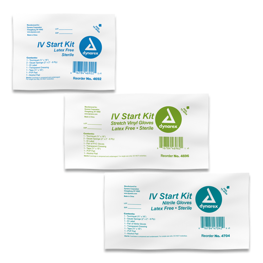 IV Start Kit with Tegaderm, Tourniquet, Tape & Prep Pads