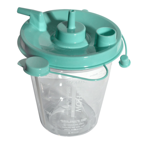 Hi Flow Suction Canister 800cc with Hydrophobic Filter, Leak-free Seal - Suction Canisters - Mountainside Medical Equipment